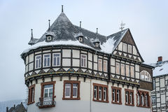 Detail view half-timbered house. Detail view of a half-timbered house with snowfall in Goslar, Germany Royalty Free Stock Image