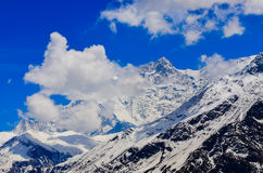 Detail view of Himalayas mountain peak covered in snow Royalty Free Stock Photos