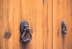 Detail view of iron lion head door knocker of wood front door royalty free stock photo