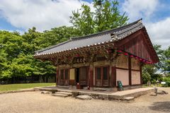 Detail view on korean buddhistic Shrine in the Bunhwangsa Temple on a clear day. Located in Gyeongju, South Korea, Asia. Bunhwangsa Temple was built during the stock photos