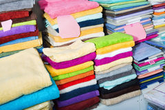 Detail view of loop towels and bed sheets Stock Image
