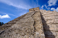 Detail view of Mayan pyramid El Castillo in Chichen Itza Royalty Free Stock Images