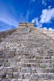 Detail view of Mayan pyramid El Castillo in Chichen Itza Royalty Free Stock Image