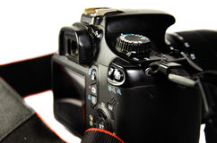 Detail view of modern DSLR camera royalty free stock photos