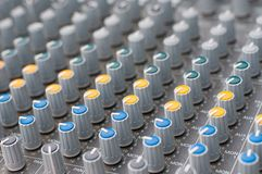 Detail view of music mixer Royalty Free Stock Image