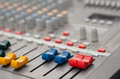 Detail view of music mixer Royalty Free Stock Photo