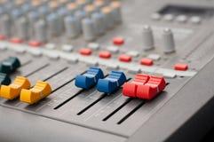 Detail view of music mixer Stock Photos