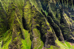 Detail view of Na Pali rugged cliffs, Kauai Royalty Free Stock Photos