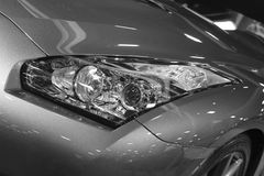 Detail view new sports car headlamp Royalty Free Stock Image