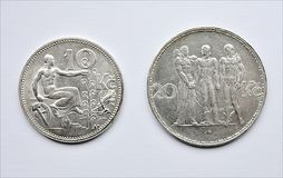 Old silver coins Czechoslovakia Royalty Free Stock Photography