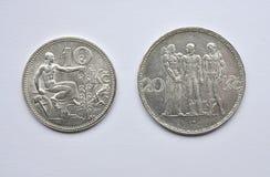 Old silver Czechoslovakia coins royalty free stock photos