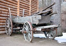 Old wooden wagon. Detail view old wooden wagon Royalty Free Stock Photography