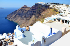 Detail view over the city of Fira stock photography