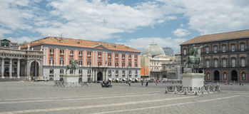 Detail of the view of Piazza del Plebiscito - Naples - Italy Royalty Free Stock Photography