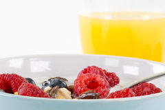 Detail view from a portion of granola with fruits, isolated on w Royalty Free Stock Image