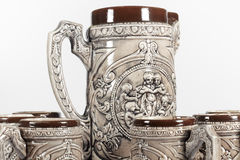 Detail view of set of beer mugs Royalty Free Stock Photo