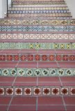 Detail view of Spanish tiles on a stairway. A closeup detail view of Spanish tiles.  Tiles add color and character with their varied styles.  Santa Barbara Stock Photography