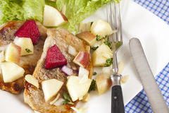 Detail view of Steak with apple salad Stock Photos