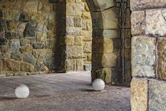 Stone Arc Building Detail View. Detail view of stone arc buliding at San Carlos de Bariloche, Argentina Stock Photos