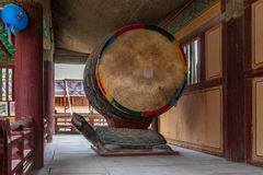 Detail view on a traditional drum, barrel in the Korean Buddhist Bulguksa Temple. Located in Gyeongju, South Korea, Asia stock photo