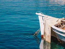 Detail view of a traditional greek fishing boat in Limenas Port, Thasos Island. Thasos or Thassos Island is a summer destination island in the Aegean Sea stock photography