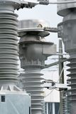 Detail view of transformers and conduits at an electric power station. A detail view of transformers and conduits at an electric power station royalty free stock image