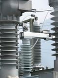 Detail view of transformers and conduits at an electric power station. A detail view of transformers and conduits at an electric power station stock image