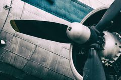 Background of a propeller engine of vintage metal plane. royalty free stock photos