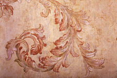 Detail of vintage beige shabby chic wallpaper Royalty Free Stock Photography