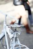 Detail of a Vintage Bicycle Saddle with a beautiful bokeh. Stock Photography