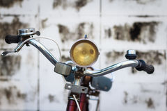 Detail of a Vintage Bike HandleBar with background texture royalty free stock photo