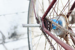 Detail of a Vintage Bike wheel with background texture Royalty Free Stock Photography
