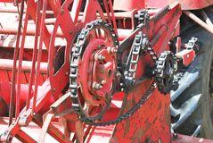 Detail of vintage combine harvester Stock Photos