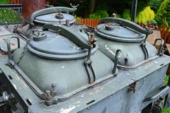 Detail of vintage military trailer chuckwagon with covers of built in pots. Sturdy military grade construction Stock Images