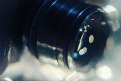Detail of vintage photo camera. close up photo of old camera len Stock Photography