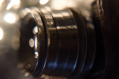 Detail of vintage photo camera. close up photo of old camera len Stock Images