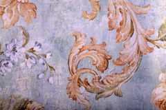 Detail of vintage shabby chic wallpaper Stock Photography