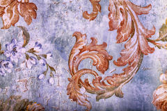 Detail of vintage shabby chic wallpaper Royalty Free Stock Images