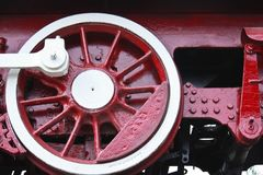 Detail of vintage steam engine locomotive  wheel Royalty Free Stock Image