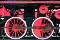 Detail of a vintage steam locomotive with red wheels Stock Photography