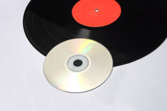 Detail vinyl record and compact disc Royalty Free Stock Images