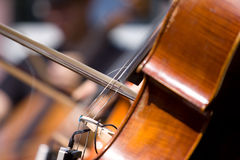 Detail of the violoncello. Street musician playing on violoncello Royalty Free Stock Image