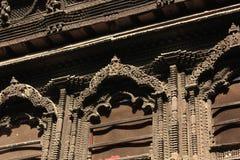 Detail von bahal ï hölzernes windowï ¼ Œkumari ¼ Œnepal stockfoto