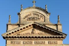 Detail von Carmine Church-Fassade Stockfoto
