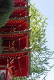 Detail von Dachgesimsen einer hohen japanischen Pagode Lizenzfreie Stockfotos
