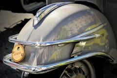 Detail von Design Vespa - ikonenhafter italienischer Roller auf dem Motorsport, der HBier, Genua, Ligurien, Italien trifft Lizenzfreies Stockfoto