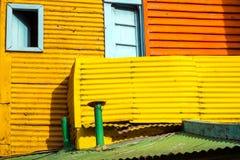 Detail von einem der bunten Häuser im La Boca Lizenzfreies Stockfoto