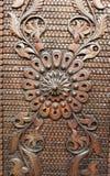 Detail von einer alten Eisenmetalltür Abschluss- oben der Verzierung Beschaffenheit, Hintergrund Stockfoto