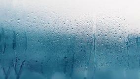 Detail von Feuchtigkeitskondensationsproblemen, Hei?wasserdampf oben kondensiert auf dem kalten Glasabschlu? stockfotografie