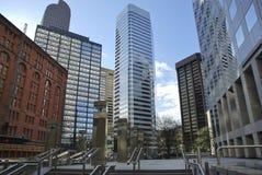 Detail von futuristischen Wolkenkratzern in Denver in USA Lizenzfreie Stockbilder